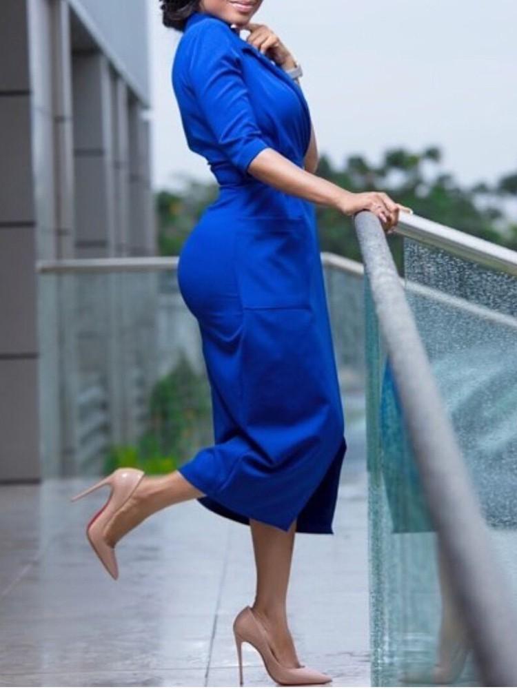 boutiquefeel / Solid Wrapped O-Ring Belted Pocket Irregular Blazer Dress