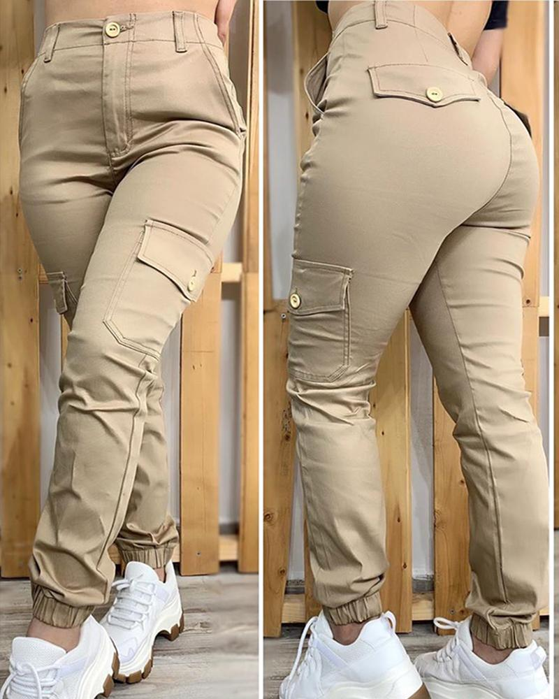 Buttoned Pockets Design Solid Casual Pants thumbnail