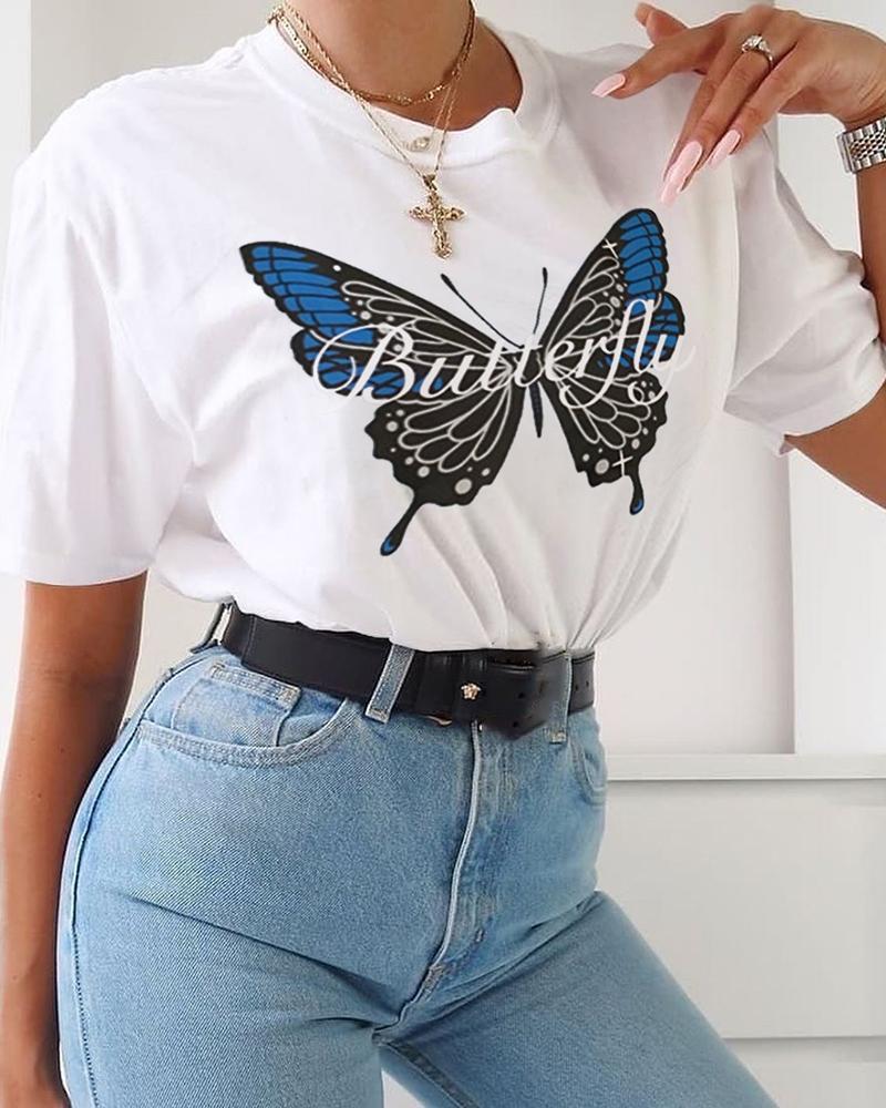 Butterfly Print Round Neck T-shirt thumbnail