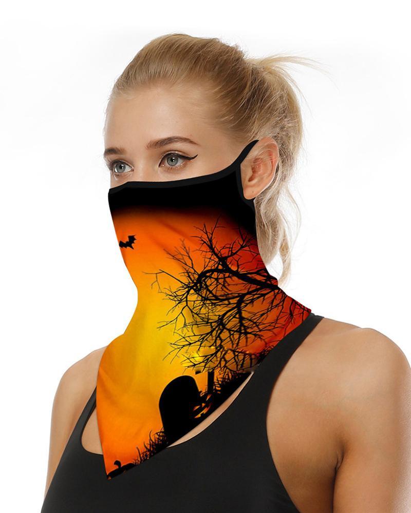 Halloween Pumpkin Skull Print Breathable Ear Loop Face Cover thumbnail