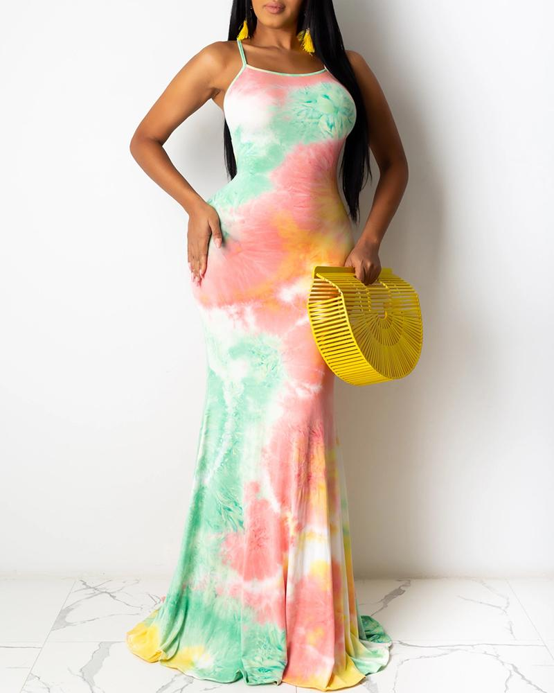 Tie Dye Print Crisscross Backless Maxi Dress thumbnail
