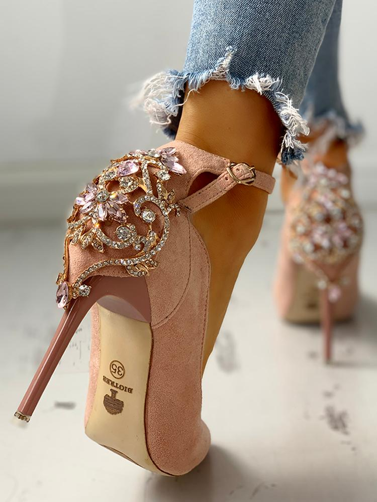 boutiquefeel / Gem-Studded Pointed Toe Ankle Strap Heels