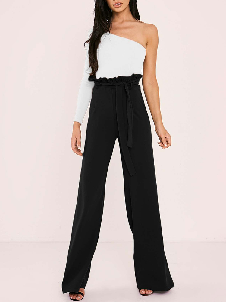 boutiquefeel / Frills Belted High Waisted Wide Leg Pants
