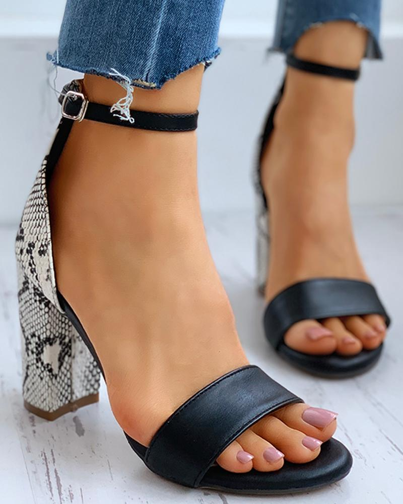 Snakeskin Open Toe Ankle Strap Block Heels thumbnail