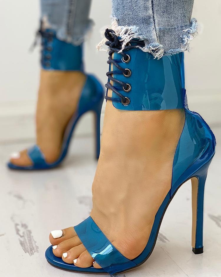Transparent Lace-Up Single Strap Heeled Sandals