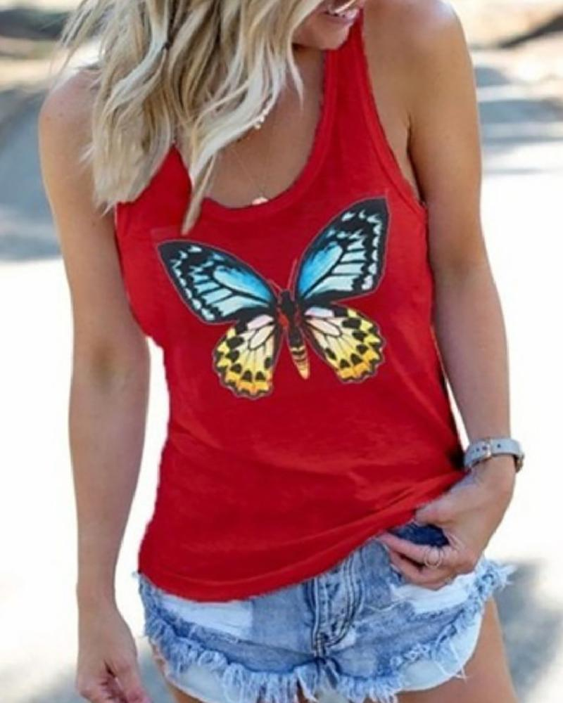 Butterfly Print Sleeveless Casual Top thumbnail