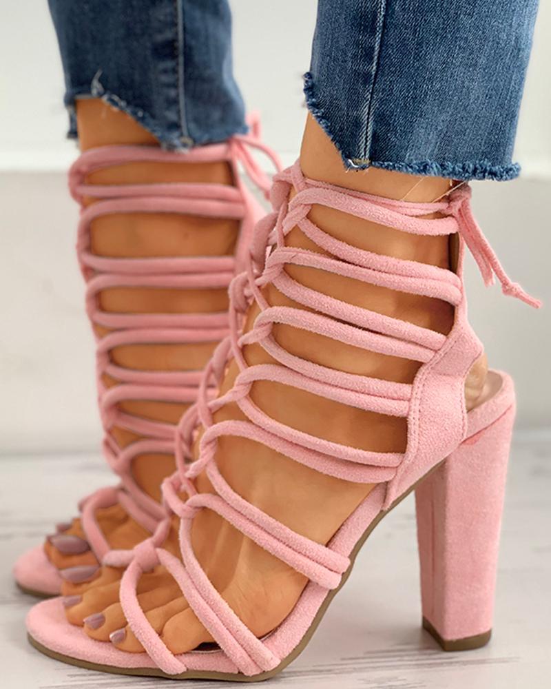 Lace-Up Open Toe Slingback Chunky Heels thumbnail