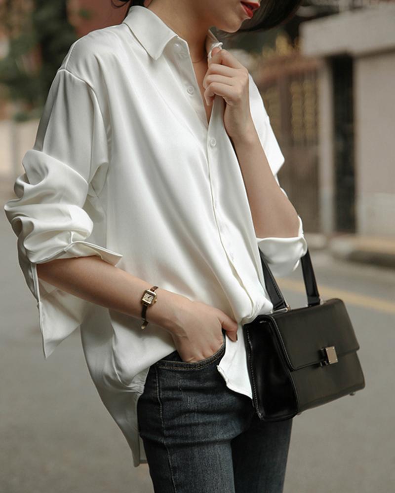 Solid Long sleeve Button Through Satin Shirt thumbnail