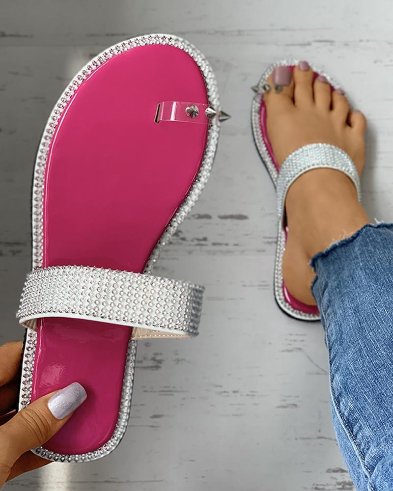 Toe Ring Rivet Rhinestone Colorblock Flat Sandals thumbnail