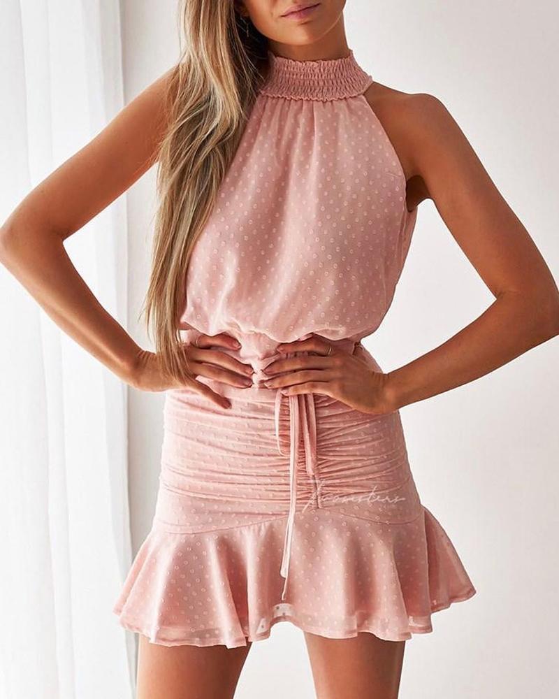 Swiss Dots Shirring Neck Ruched Ruffles Casual Dress thumbnail