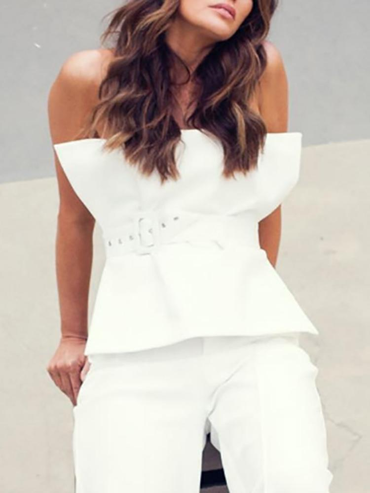 boutiquefeel / Strapless Fold Pleat Belted Top