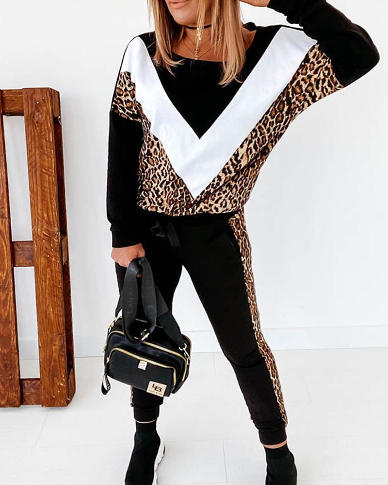 Conjunto De Pantalones Tipo Sudadera Con Estampado De Guepardo En Bloques De Color