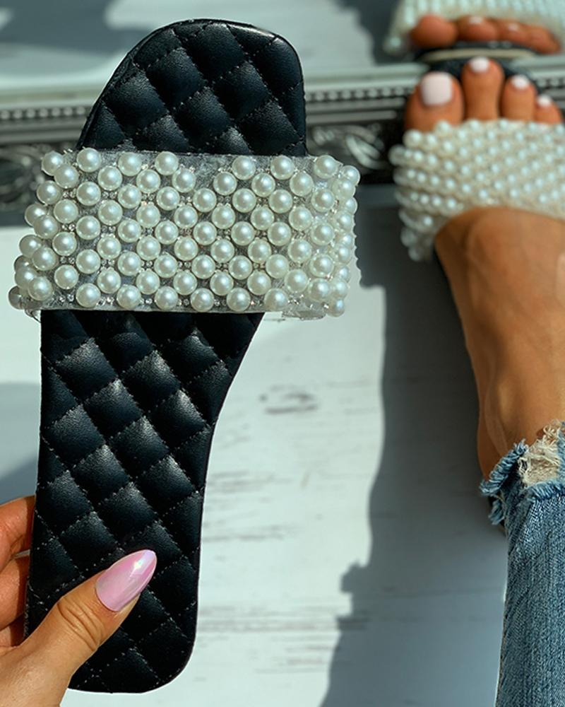 Quilted Beaded Decor Square Toe Slide Sandals