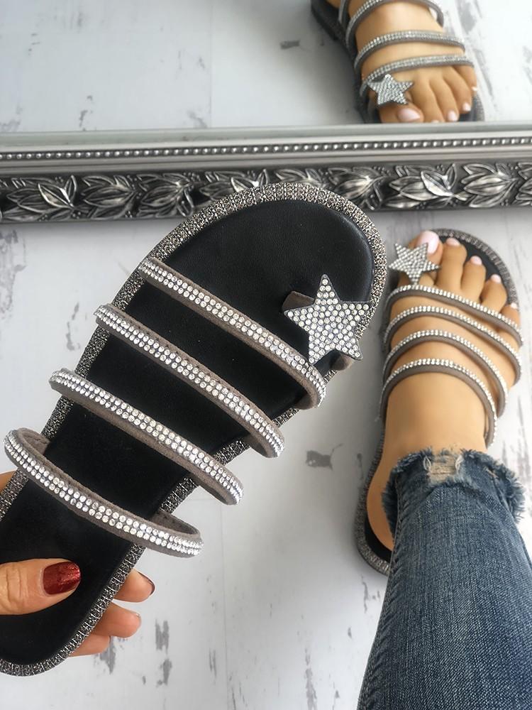 boutiquefeel / Shiny Star Multi-strap Non-Slip Flat Sandals
