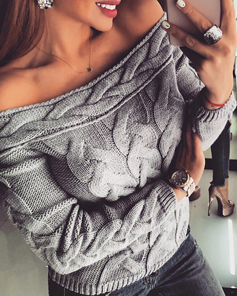 Off Shoulder Braided Knitted Casual Sweater thumbnail