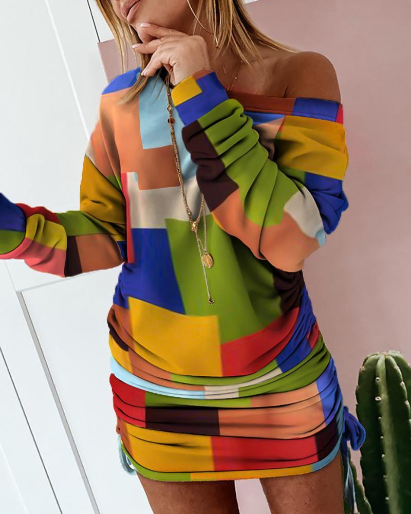 Colorblock Drawstring Ruched Sweatshirt Dress thumbnail