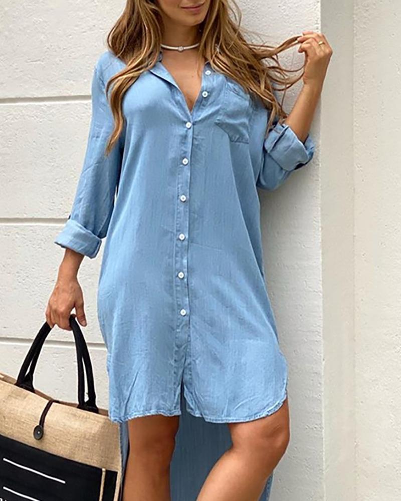 Button Design Pocket Dip Hem Casual Dress thumbnail