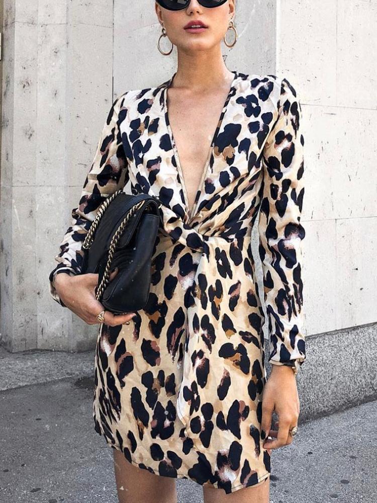 Leopard Deep V-Neck Twist Front Dress