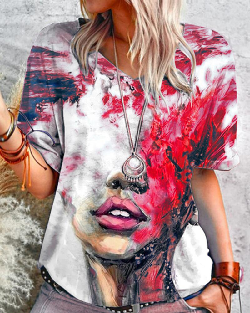 Figure Patterns Print Short Sleeve Loose T-shirts, Red