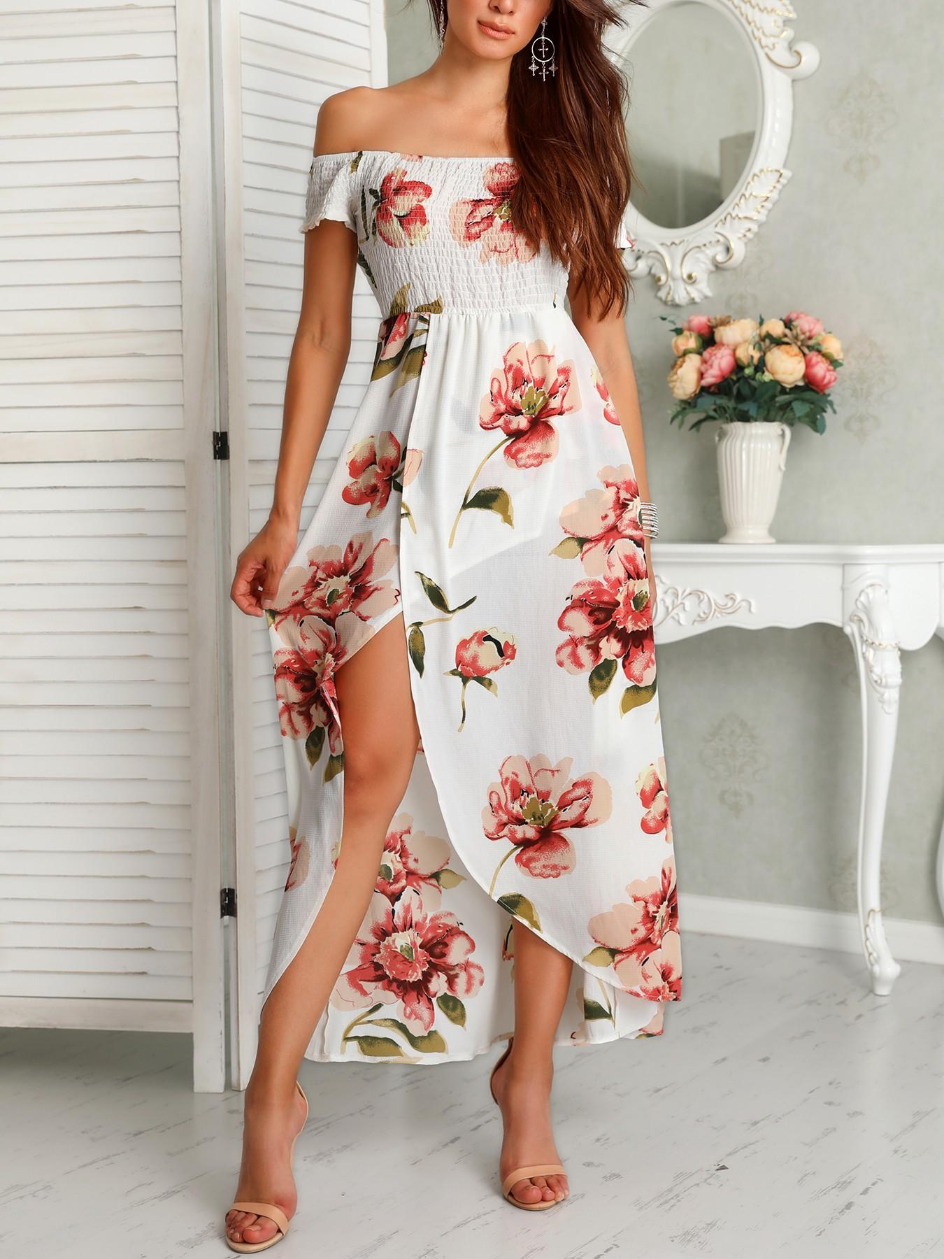 boutiquefeel / Floral Print Shirring Off Shoulder Slit Maxi Dress
