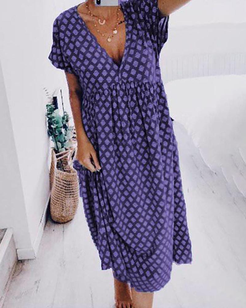 Retro Print Pocket Design Plunge Casual Dress thumbnail
