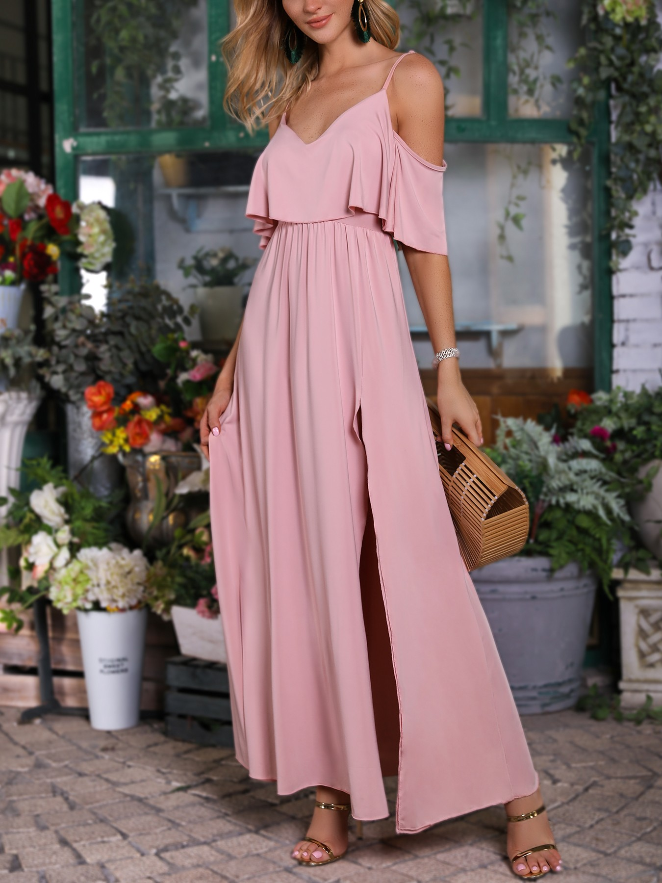 boutiquefeel / Solid Cold Shoulder Thigh Slit Maxi Dress