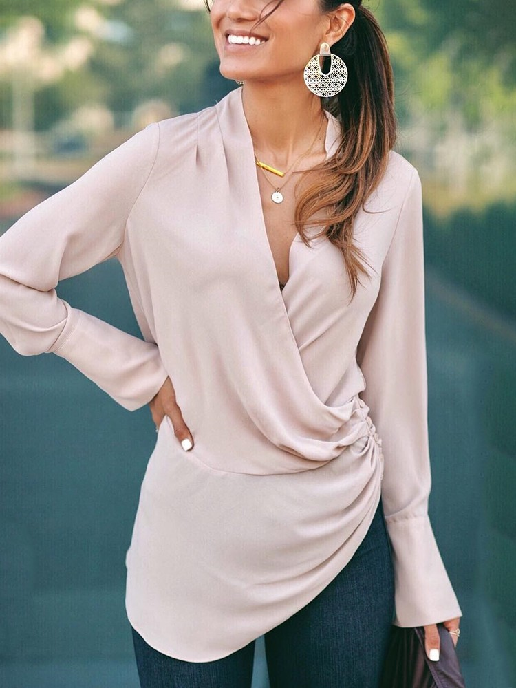 Solid Long Sleeve Ruched Irregular Blouse
