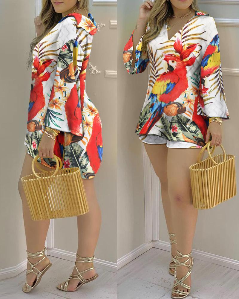 Tropical Print Bell Sleeve Top & Shorts Set
