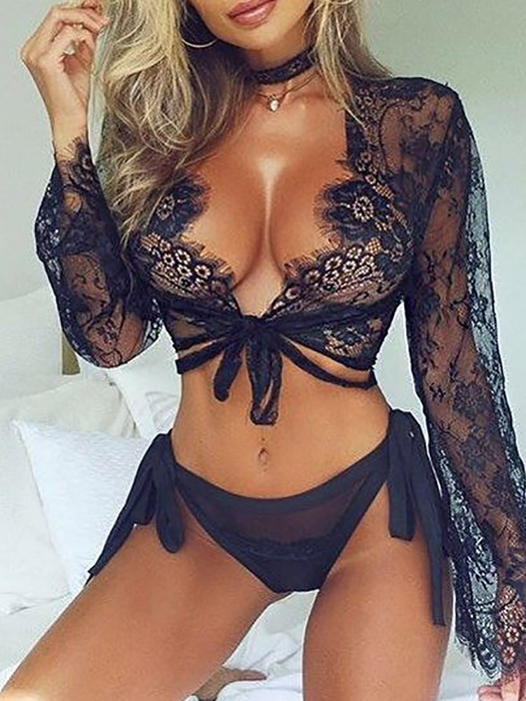 Sheer Black Lace Eyelash Lingerie Top