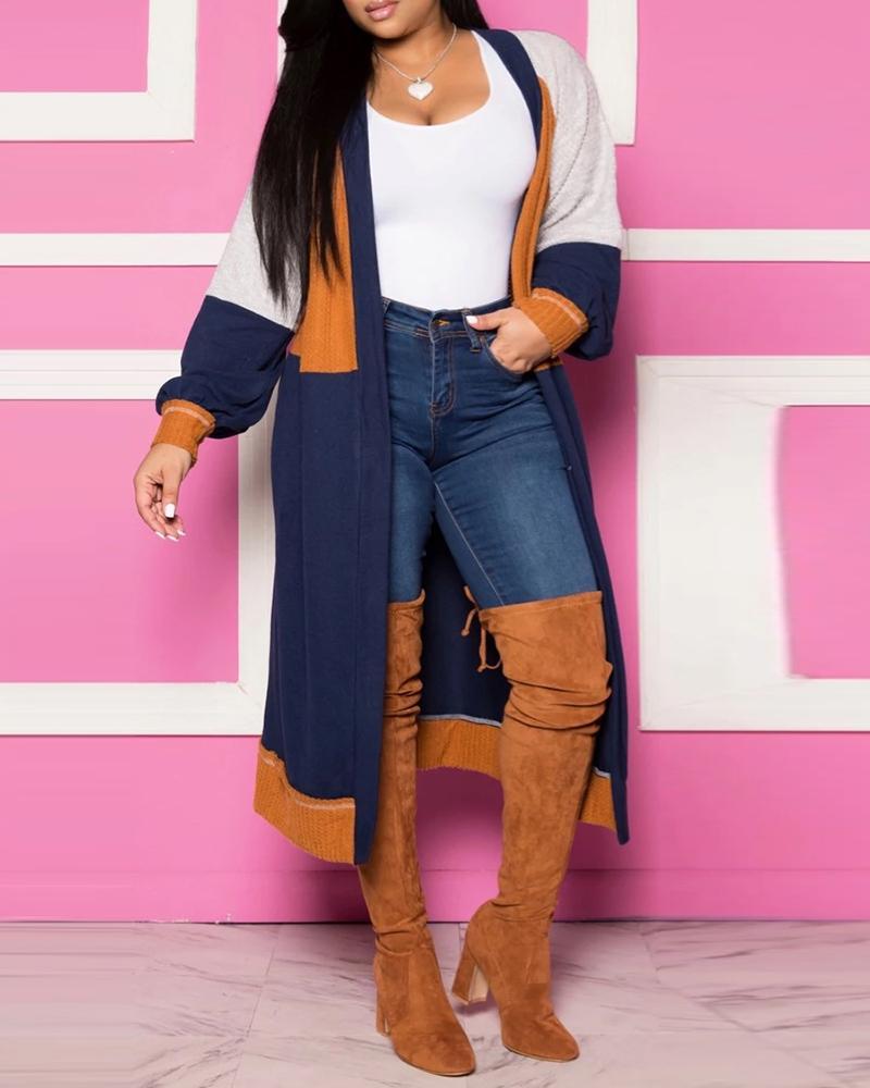 Colorblock Long Sleeve Longline Cardigan Coat thumbnail