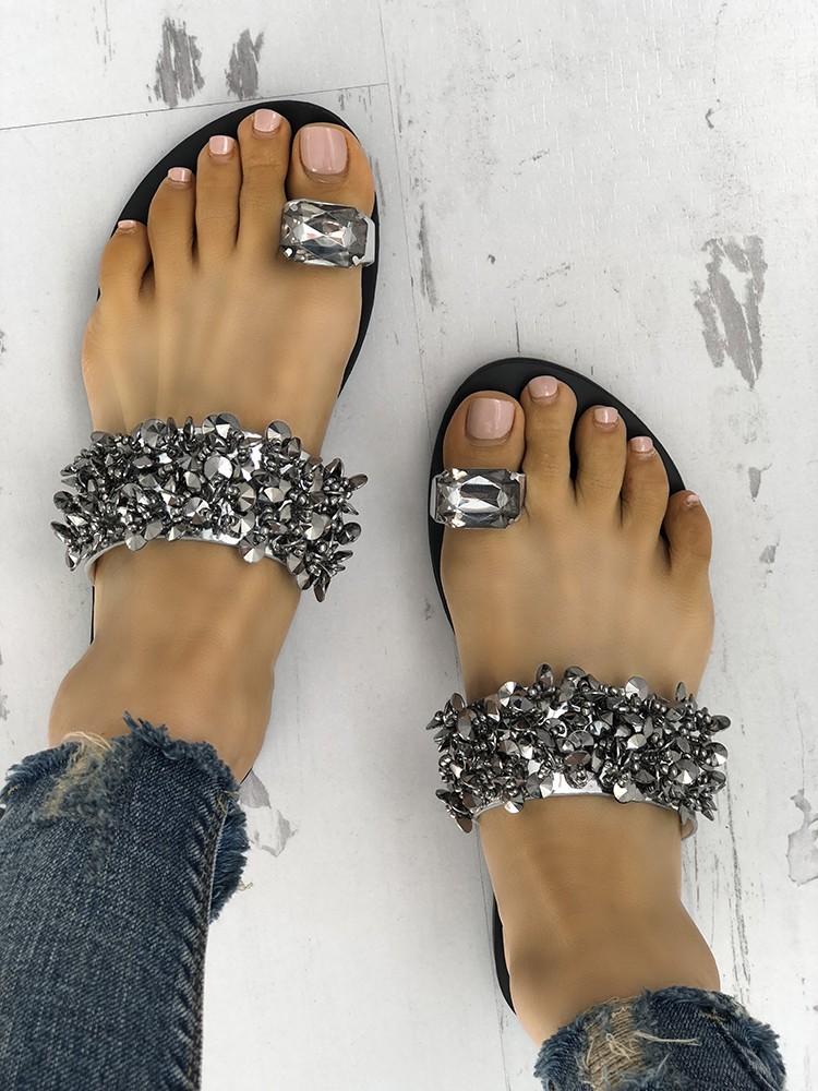Womens Faux Rhinestone Toe Ring Flat Sandals
