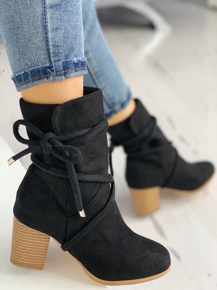 boutiquefeel / Suede Bandage Chunky Heeled Boots