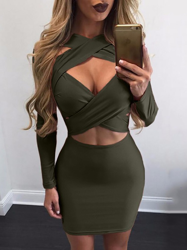 Women Sexy Criss Cross Hollow Bodycon Mini Dress