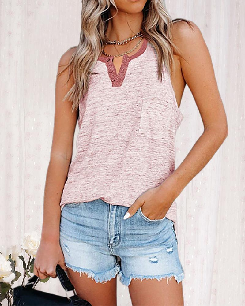 Colorblock Button Design Sleeveless Tank, boutiquefeel, pink  - buy with discount