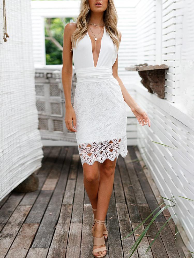 White Crisscross Back Crochet Party Dress