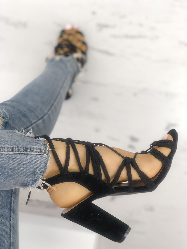 Braided Strappy Chunky Heeled Sandals