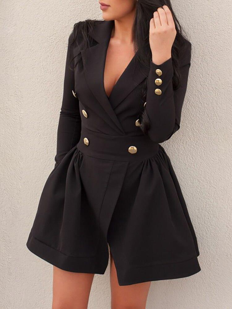 Ivrose coupon: Double-Breasted Long Sleeve Mini Dress