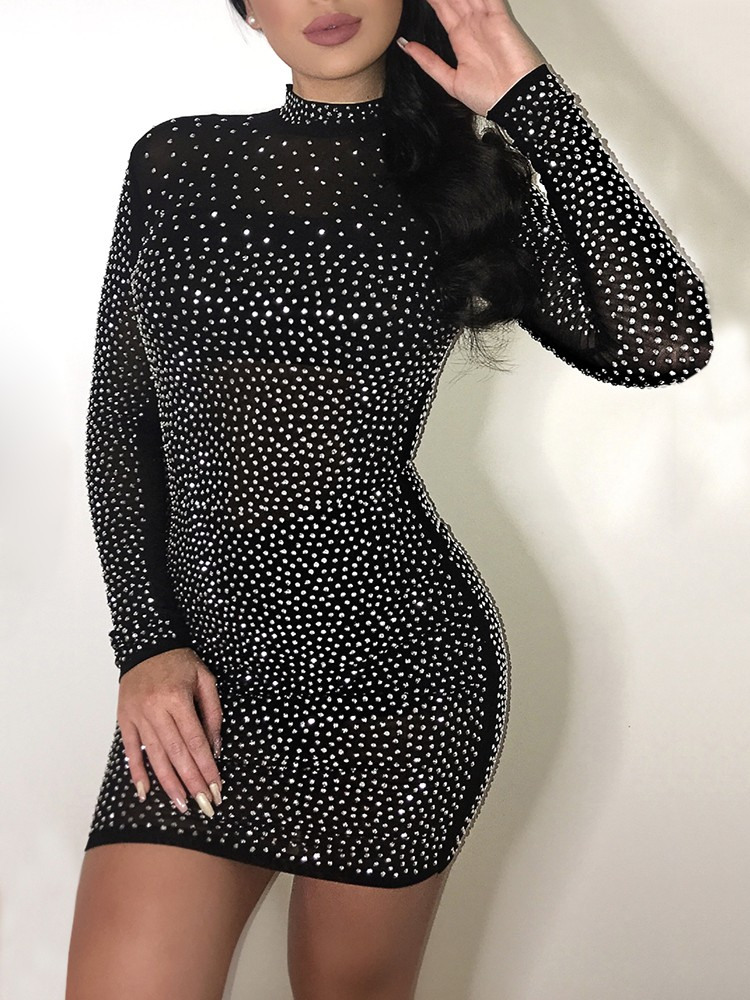 Alluring Sequined Long Sleeve Bodycon Mini Dress