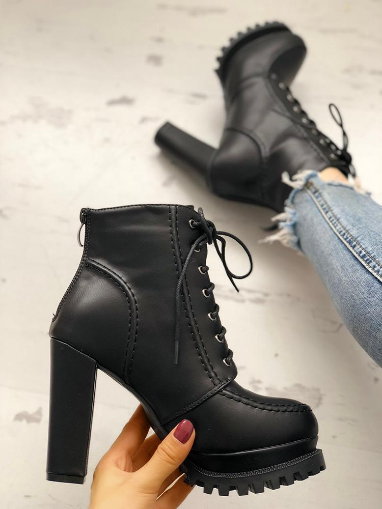 boutiquefeel / Solid Lace-Up Platform Chunky Heeled Boots