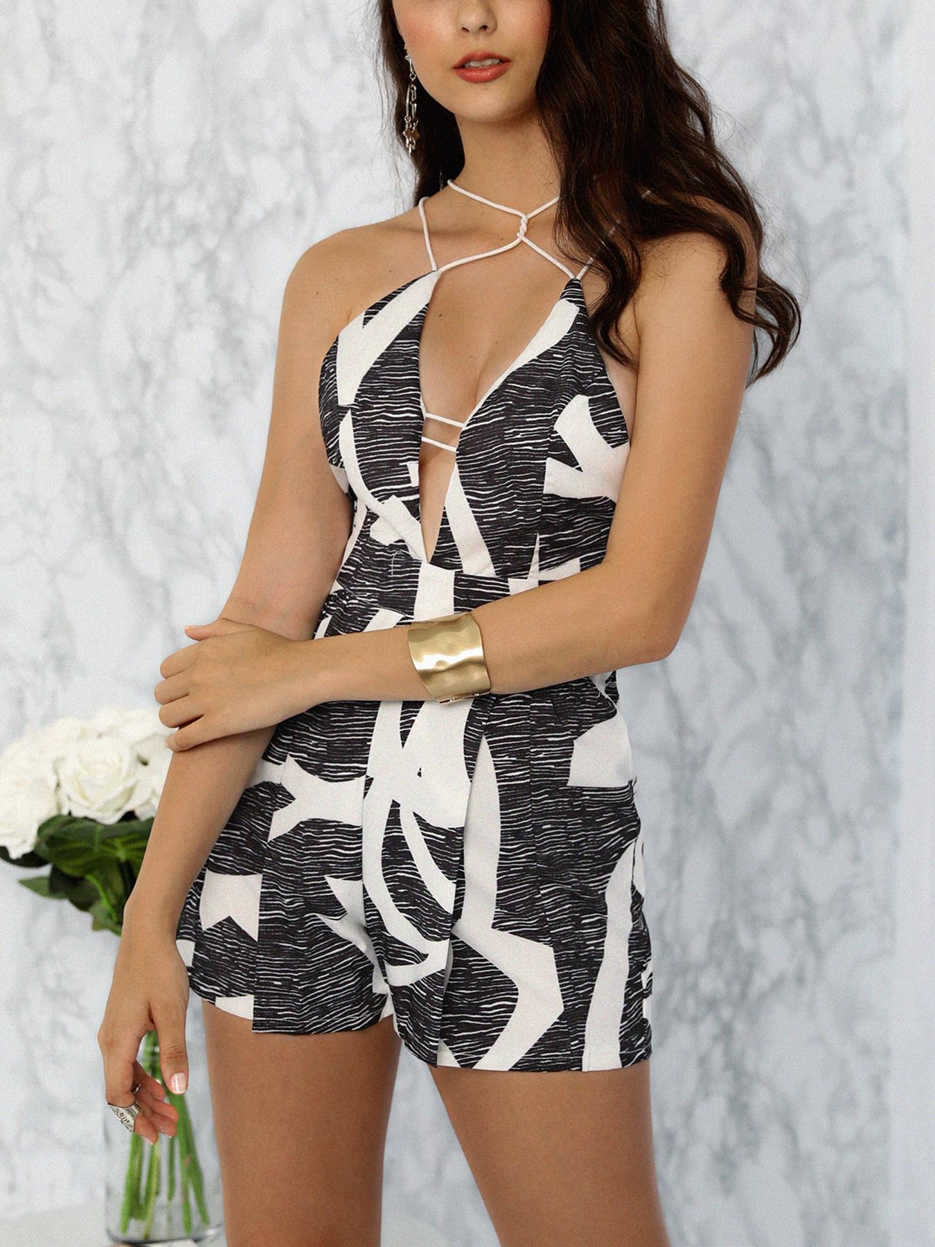 0aa960914d1 Geo Print Strappy Caged Pleated Romper Online. Discover hottest trend  fashion at chicme.com