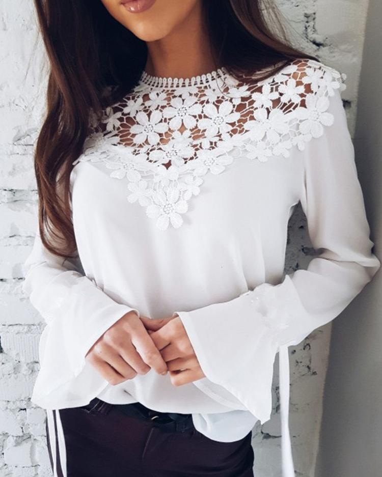 Joyshoetique coupon: Sexy Flare Sleeve Lace Patchwork Blouse