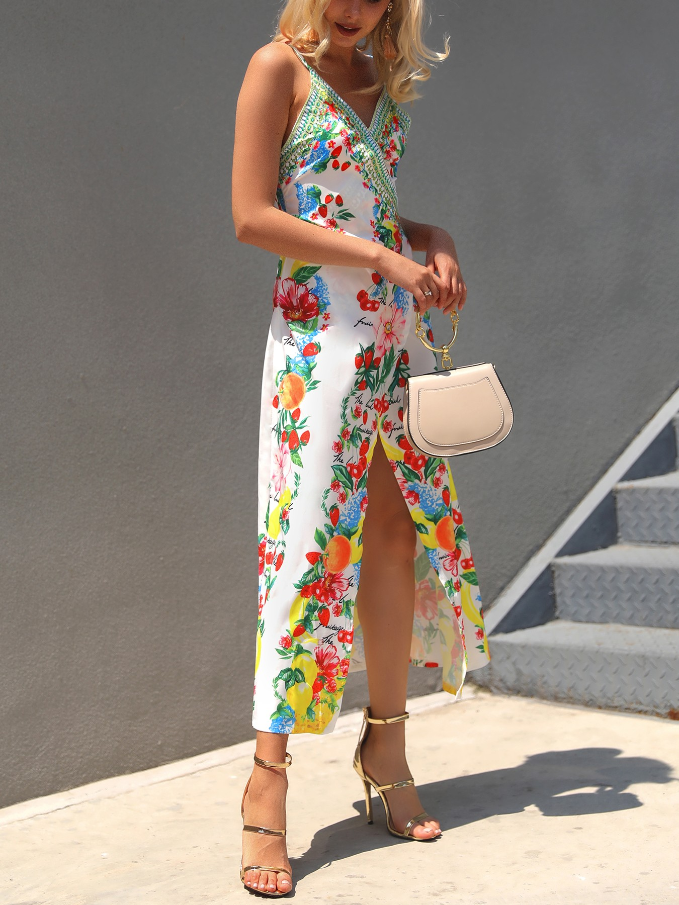 boutiquefeel / Boho Print High Slit Deep V Slip Maxi Dress