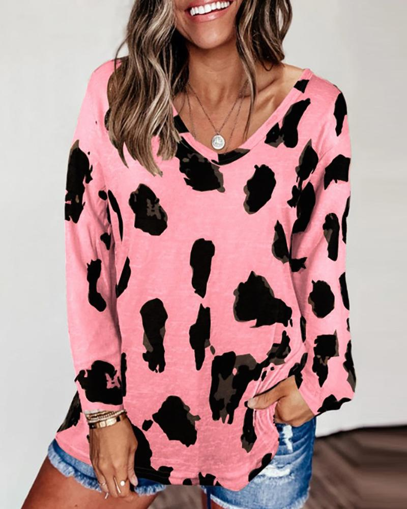 Cheetah Print Colorblock Long Sleeve Casual Top thumbnail
