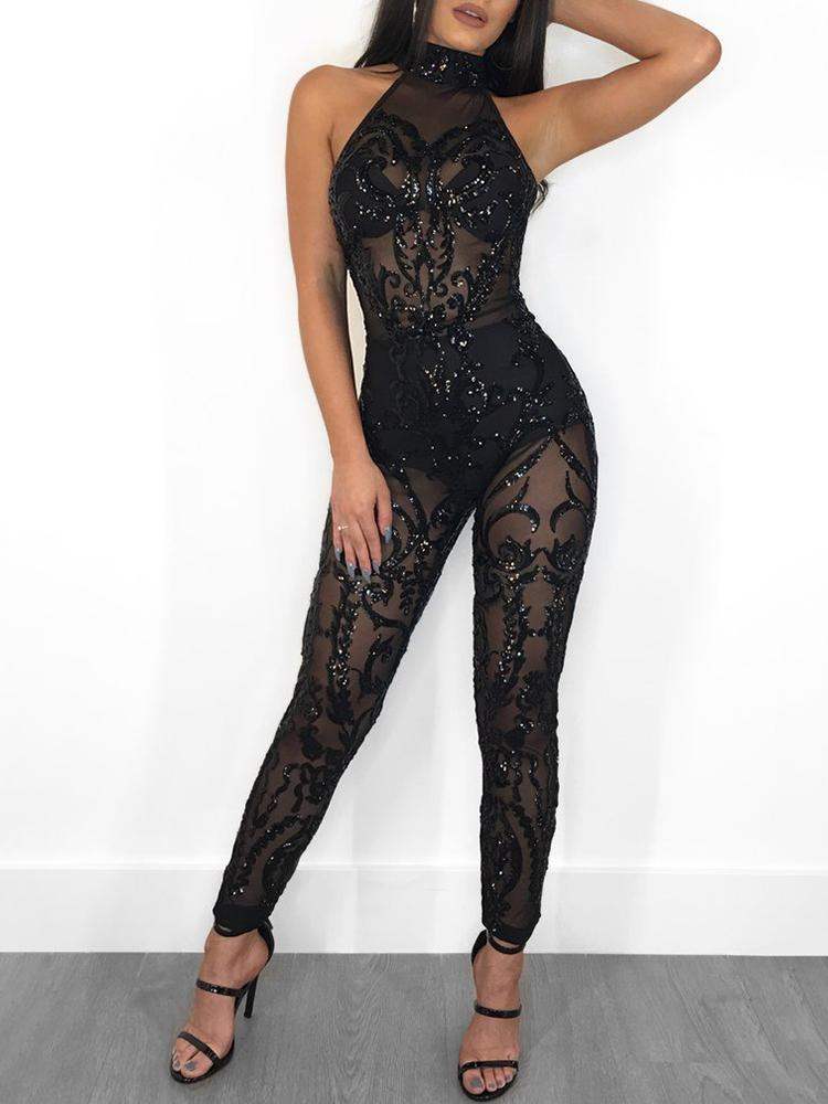 50f9a0750d Sheer Mesh Halter Backless Sequin Jumpsuits Online. Discover hottest trend  fashion at chicme.com