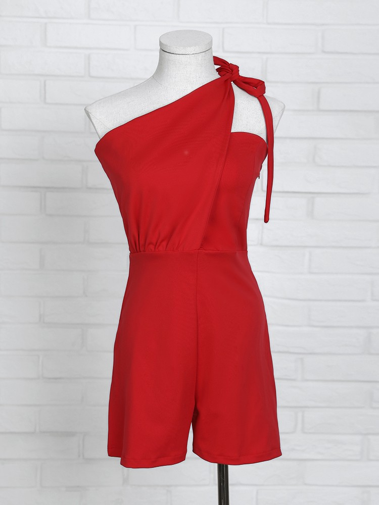 boutiquefeel / Solid Knotted One Shoulder Casual Romper