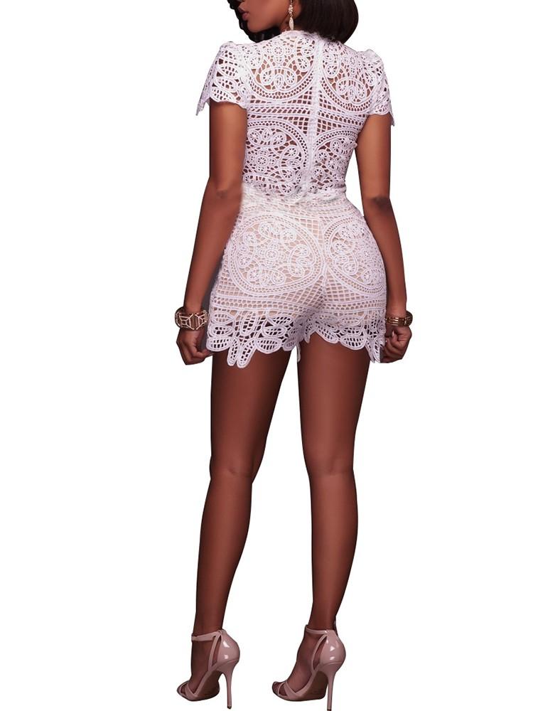 boutiquefeel / Sexy Crochet Lace Low Cut Slinky Romper
