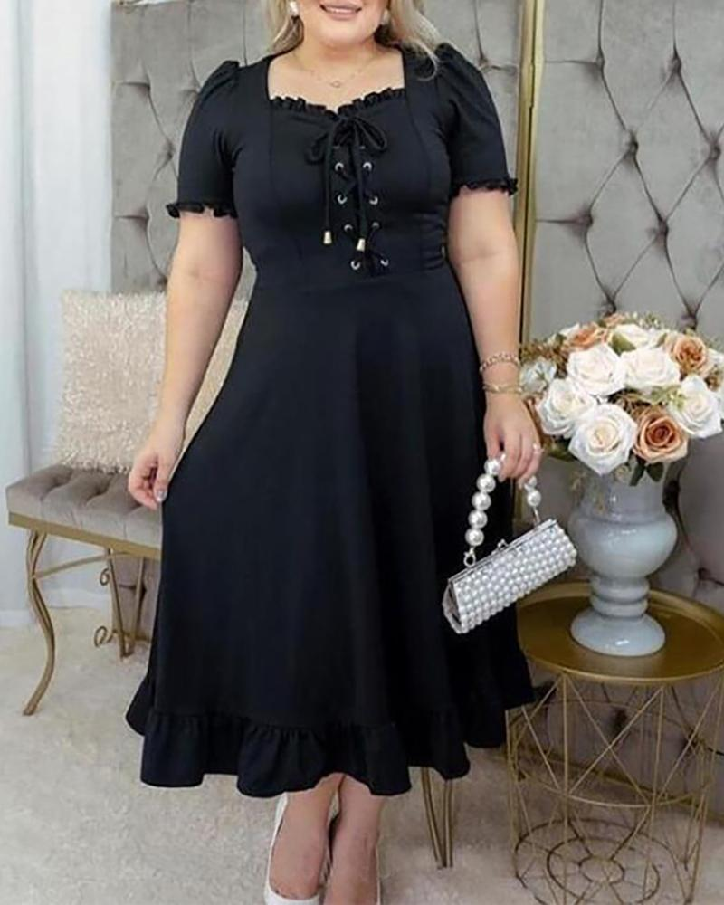 Plus Size Eyelet Lace-up Bell Sleeve Ruffles Casual Dress