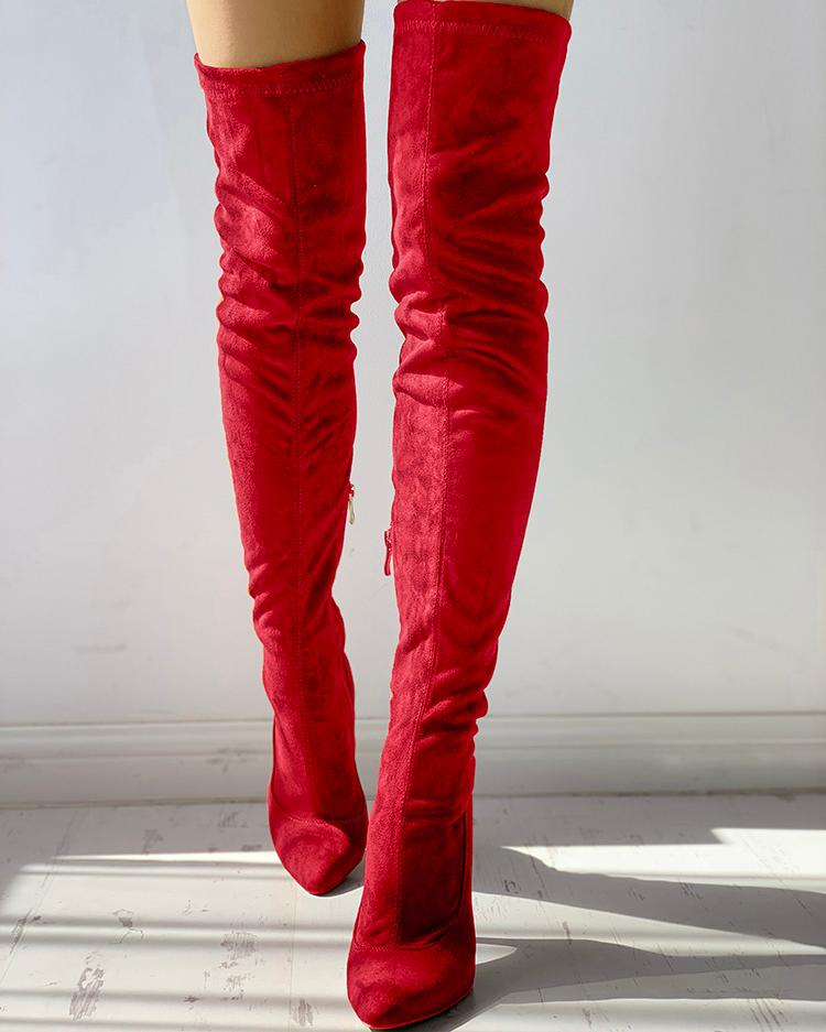 Knee-High Pointed Toe Heels Red Boots thumbnail
