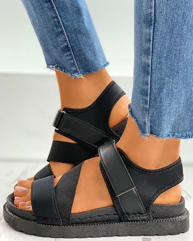 Solid Velcro Slingback Platform Sandals