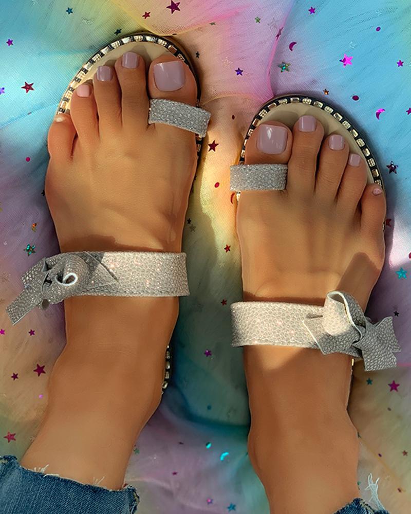 Studded Bowknot Pattern Toe Ring Flat Sandals thumbnail